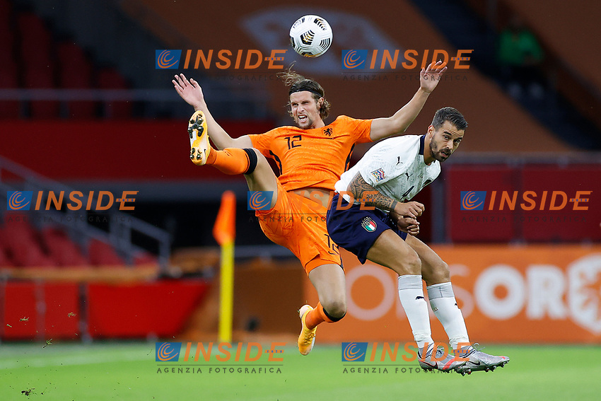 AMSTERDAM, 07-09-2020, JohanCruyff Stadium, season 2020 / 2021 . Nations Leaque game between Netherlands and Italy. Netherlands player Hans Hateboer and Italian player Leonardo Spinazzola<br /> Amsterdam 07-09-2020 <br /> Football Calcio Uefa Nations League <br /> Olanda - Italia / Netherlands - Italy <br /> Photo Stanley Gontha / Pro Shots / Insidefoto <br /> ITALY ONLY