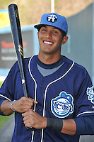 Helder Velazquez #11 of the Asheville Tourists poses during media day at McCormick Field on April 4, 2011 in Asheville, North Carolina.  Photo by Tony Farlow / Four Seam Images..