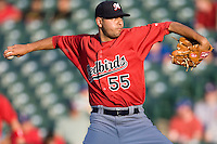 Memphis Redbirds pitcher Brian Broderick #55 delivers during a game against the Round Rock Express at the Dell Diamond on July 7, 2011in Round Rock, Texas.  Round Rock defeated Memphis.  (Andrew Woolley / Four Seam Images)