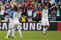 Seattle, WA - Thursday, June 16, 2016: United States midfielder Kyle Beckerman (15) celebrates the win after the Quarterfinal of the 2016 Copa America Centenrio at CenturyLink Field.