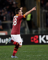 Calcio, semifinale di andata di Coppa Italia: Roma vs Inter. Roma, stadio Olimpico, 23 gennaio 2013..AS Roma midfielder Alessandro Florenzi celebrates after scoring during the Italy Cup football semifinal first half match between AS Roma and FC Inter at Rome's Olympic stadium, 23 January 2013..UPDATE IMAGES PRESS/Riccardo De Luca
