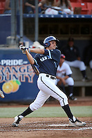 Jeff Houghtby (7) of the University of San Diego Toreros bats against the Cal State Fullerton Titans at Goodwin Field on April 5, 2016 in Fullerton, California. Cal State Fullerton defeated University of San Diego, 4-2. (Larry Goren/Four Seam Images)