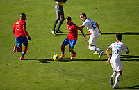 CARSON, CA - FEBRUARY 1: Cristopher Nunez #13 of Costa Rica moves with the ball during a game between Costa Rica and USMNT at Dignity Health Sports Park on February 1, 2020 in Carson, California.