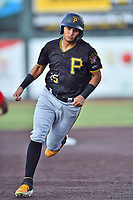 Bristol Pirates Daniel Rivero (15) runs to third base during game two of the Appalachian League, West Division Playoffs against the Johnson City Cardinals at TVA Credit Union Ballpark on August 31, 2019 in Johnson City, Tennessee. The Cardinals defeated the Pirates 7-4 to even the series at 1-1. (Tony Farlow/Four Seam Images)