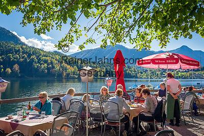 Austria; Styria; Styrian Salzkammergut; Ausseer Land, Grundlsee: seaside café   Oesterreich, Steiermark, Steirisches Salzkammergut, Ausseer Land, Grundlsee: Café am See