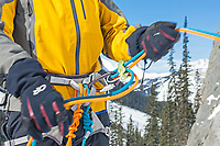 Winter belaying with Petzl's Reverso belay plate, BC, Canada