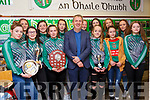 Ballyduff Ladies GAA Awards: Pictured at the Ballyduff Ladies GAA awards night on Friday night last at Ballyduff NS were in front Aoibhe Joy, Katie Moriarity,  Caoimhe O'Connor, Kerry manager Peter Keane, Ciar aKirby, Laura Moriarity & Emer Enright. Back: Aoife Donegan, Katie Joy, Katie Dunworth, Aisling Hennessy, Eabha O'Connor, Molly Murphy & Aoife O'Connor.