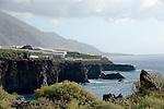 Spain, Canary Islands, La Palma, near Puerto Naos: banana plantation, green houses at west coast
