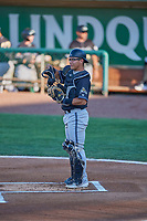 Axel Andueza (14) of the Missoula Osprey during the game against the Ogden Raptors at Lindquist Field on August 12, 2019 in Ogden, Utah. The Raptors defeated the Osprey 4-3. (Stephen Smith/Four Seam Images)
