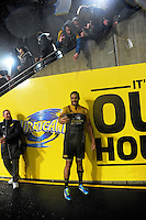 Michael Fatialofa takes a selfie with fans after the Super Rugby quarterfinal match between the Hurricanes and Sharks at Westpac Stadium, Wellington, New Zealand on Saturday, 23 July 2016. Photo: Dave Lintott / lintottphoto.co.nz