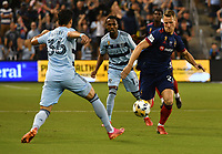 KANSAS CITY, KS - SEPTEMBER 11: Fabian Herbers #21 of Chicago FC and Luis Martins #36 of Sporting Kansas City attempts to stop him during a game between Chicago Fire FC and Sporting Kansas City at Children's Mercy Park on September 11, 2021 in Kansas City, Kansas.