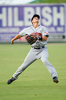 Shortstop Rick Hague #18 of the Hagerstown Suns tracks a fly ball in shallow left field against the Kannapolis Intimidators at Fieldcrest Cannon Stadium August 10, 2010, in Kannapolis, North Carolina.  Photo by Brian Westerholt / Four Seam Images