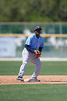 Tampa Bay Rays Vidal Brujan (2) during a minor league Spring Training game against the Baltimore Orioles on March 29, 2017 at the Buck O'Neil Baseball Complex in Sarasota, Florida.  (Mike Janes/Four Seam Images)
