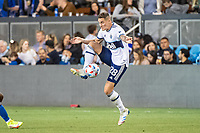 SAN JOSE, CA - AUGUST 13: Jake Nerwinski #28 of the Vancouver Whitecaps dribbles the ball during a game between San Jose Earthquakes and Vancouver Whitecaps at PayPal Park on August 13, 2021 in San Jose, California.