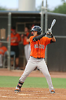 Kevin Rivera #10 of the AZL Giants bats against the AZL Mariners at the Peoria Sports Complex on July 10, 2014 in Peoria, Arizona. AZL Giants defeated the AZL Mariners, 8-4. (Larry Goren/Four Seam Images)