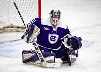 2 February 2020: Holy CrossCrusader Goaltender Jada Brenon, a Sophomore from Pendleton, NY, makes a third period save against the University of Vermont Catamounts at Gutterson Fieldhouse in Burlington, Vermont. Brenon made 51 saves in the game, keeping the Crusaders in the lead for almost the entire game. However, the Lady Cats rallied in the 3rd period to tie the Crusaders 2-2 in NCAA Women's Hockey East play. Mandatory Credit: Ed Wolfstein Photo *** RAW (NEF) Image File Available ***