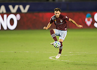 CARSON, CA - SEPTEMBER 19: Keegan Rosenberry #2 of the Colorado Rapids traps a ball during a game between Colorado Rapids and Los Angeles Galaxy at Dignity Heath Sports Park on September 19, 2020 in Carson, California.