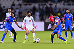 Ali Jaafar Madan of Bahrain (C) is tackled by Hali Charan Narzary (R) and Pronay Halder of India (L) during the AFC Asian Cup UAE 2019 Group A match between India (IND) and Bahrain (BHR) at Sharjah Stadium on 14 January 2019 in Sharjah, United Arab Emirates. Photo by Marcio Rodrigo Machado / Power Sport Images