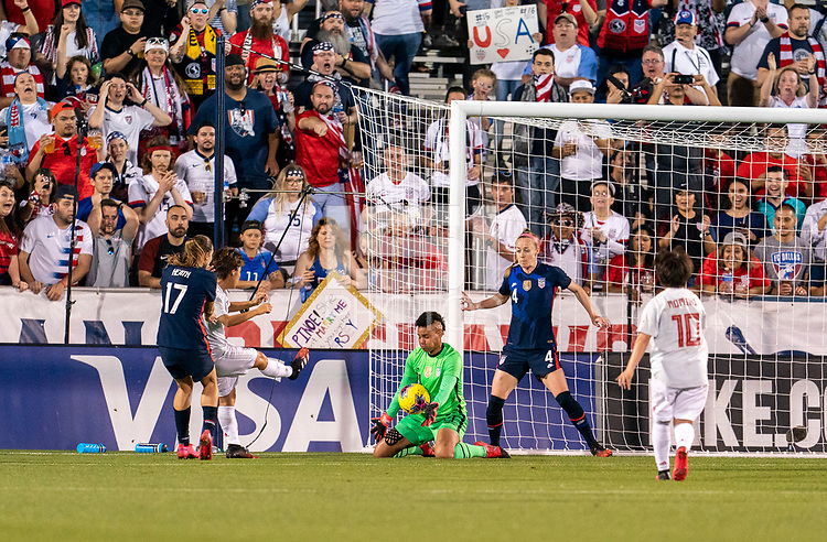 FRISCO, TX - MARCH 11: Adrianna Franch #21 of the United States makes a save during a game between Japan and USWNT at Toyota Stadium on March 11, 2020 in Frisco, Texas.