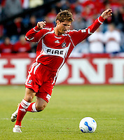 Chicago Fire midfielder Logan Pause (7) prepares to kick the ball.  FC Dallas defeated the Chicago Fire 2-1 at Toyota Park in Bridgeview, IL on May 17, 2007.