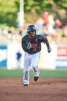 Rey Navarro (13) of the Salt Lake Bees hustles to third base during the game against the Iowa Cubs in Pacific Coast League action at Smith's Ballpark on May 13, 2017 in Salt Lake City, Utah. Salt Lake defeated Iowa  5-4. (Stephen Smith/Four Seam Images)