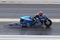 Apr. 28, 2013; Baytown, TX, USA: NHRA pro stock motorcycle rider Angie Smith during the Spring Nationals at Royal Purple Raceway. Mandatory Credit: Mark J. Rebilas-