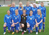 UEFA Women's Under 17 Championship - Second Qualifying round - group 1 : England - Iceland : .1 Berglind Jonasdottir ; 2 Berglind Agustsdottir ; 3 ella Thorarensen ; 4 Glodis Viggosdottir (C) ; 6 Andrea Hauksdottir ; 7 Lara Einarsdottir ; 9 Svava Gudmondsdottir ;11  Telma Thrastardottir  ; 14 Gudrun Arnardottir ; 16 Sandra Jessen ; 18 Rakel Einarsdottir..foto DAVID CATRY / Vrouwenteam.be