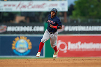Lowell Spinners Antoni Flores (19) running the bases during a NY-Penn League game against the Batavia Muckdogs on July 11, 2019 at Dwyer Stadium in Batavia, New York.  Batavia defeated Lowell 5-2.  (Mike Janes/Four Seam Images)