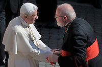 Pope Benedict XVI German Cardinal Reinhard Marx faces pilgrims gathered in the courtyard of his summer residence of Castelgandolfo, 40 km southeast of Rome, upon his arrival for a weekly general audience on August 31, 2011.
