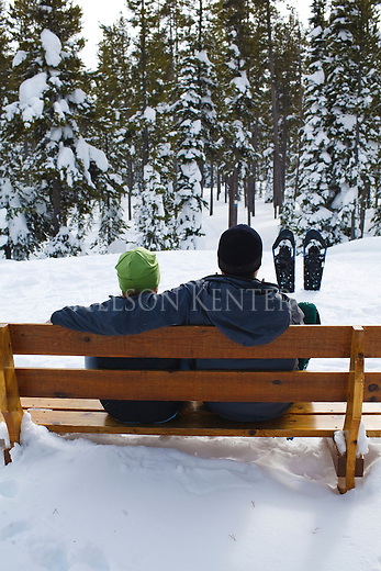 Taking a break on a snow shoe outing at Chief Joseph Ski Area in Montana