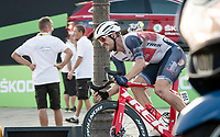 Edward Theuns (BEL/Trek-Segafredo) crashed in the finishing laps around the Champs-Élysées<br /> <br /> Stage 21 from Mantes-la-Jolie to Paris (122km)<br /> <br /> 107th Tour de France 2020 (2.UWT)<br /> (the 'postponed edition' held in september)<br /> <br /> ©kramon