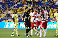 Harrison, NJ - Wednesday July 06, 2016: Jorge Gonzalez, Gideon Baah during a friendly match between the New York Red Bulls and Club America at Red Bull Arena.