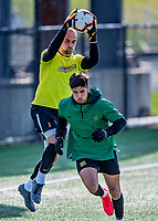 9 April 2021: University of Vermont Catamount Soccer Goalkeeper Nate Silveira, a Senior from East Providence, RI, and fellow Goalkeeper Edgar Vargas, a Sophomore from Yakima, WA, warm up prior to facing the University of New Hampshire Wildcats at Virtue Field in Burlington, Vermont. The Catamounts fell to the visiting Wildcats 2-1 in America East, Division 1 play. Mandatory Credit: Ed Wolfstein Photo *** RAW (NEF) Image File Available ***