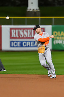Nolan Fontana (4) of the Salt Lake Bees at bat against the Fresno Grizzlies in Pacific Coast League action at Smith's Ballpark on April 13, 2016 in Salt Lake City, Utah.  The Grizzlies defeated the Bees 6-0.  (Stephen Smith/Four Seam Images)