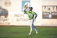 Eugene Emeralds right fielder Jonathan Sierra (22) prepares to catch a fly ball during a Northwest League game against the Salem-Keizer Volcanoes at Volcanoes Stadium on August 31, 2018 in Keizer, Oregon. The Eugene Emeralds defeated the Salem-Keizer Volcanoes by a score of 7-3. (Zachary Lucy/Four Seam Images)