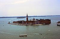 Venice:  From the Campanile-- San Giorgio Maggiore, a 16th century Benedictine monastery on an island of same name. Designed by Palladio 1556.  Scamozzi  designed facade in 1610.  Photo '83.