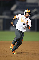 Mario Feliciano (23) of the East team runs the bases during the 2015 Perfect Game All-American Classic at Petco Park on August 16, 2015 in San Diego, California. The East squad defeated the West, 3-1. (Larry Goren/Four Seam Images)
