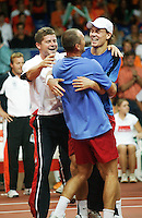 23-9-06,Leiden, Daviscup Netherlands-Tsjech Republic, doubles, celebration after the decif doubles win Martin Damm and Tomas Berdych are congretulated bij Novak