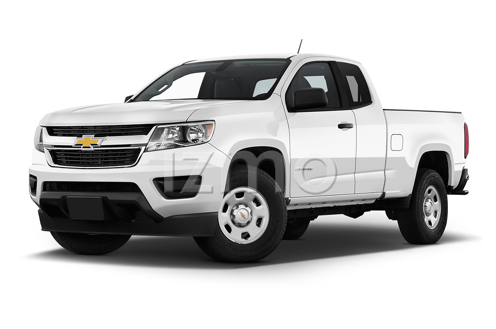 Stock pictures of low aggressive front three quarter view of a 2019 Chevrolet Colorado WT 4 Door Pick Up