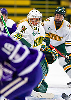 2 February 2020: University of Vermont Catamount Goaltender Natalie Ferenc, a Freshman from Orchard Lake, MI, in first period action against the Holy Cross Crusaders at Gutterson Fieldhouse in Burlington, Vermont. The Lady Cats rallied in the 3rd period to tie the Crusaders 2-2 in NCAA Women's Hockey East play. Mandatory Credit: Ed Wolfstein Photo *** RAW (NEF) Image File Available ***