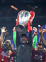 Liverpool's coach Jurgen Klopp holds up the trophy at the end of the UEFA Champions League final football match between Tottenham Hotspur and Liverpool at Madrid's Wanda Metropolitano Stadium, Spain, June 1, 2019. Liverpool won 2-0.<br /> UPDATE IMAGES PRESS/Isabella Bonotto