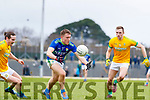 Dara Moynihan, Kerry in action against Cillian O'Sullivan, and Conor McGill, Meath during the Allianz Football League Division 1 Round 4 match between Kerry and Meath at Fitzgerald Stadium in Killarney, on Sunday.