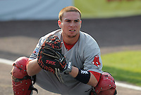 Catcher Christian Vazquez (12) of the Salem Red Sox, a Boston Red Sox affiliate, before a game against the Potomac Nationals on June 8, 2012, at Pfitzner Stadium in Woodbridge, Virginia. Potomac won the first game of a doubleheader, 5-4. Vazquez is the No. 29 Boston prospect, according to Baseball America. (Tom Priddy/Four Seam Images)