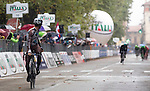 Jan Bakelants (BEL) AG2R La Mondiale crosses the finish line solo to win the 2015 GranPiemonte race, first held in 1906, running 185km race starting at San Francesco al Campo and finishing in Cirie, Italy. 2nd October 2015.<br /> Picture: Claudio Peri/ANSA | Newsfile