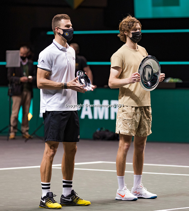Rotterdam, The Netherlands,7 march  2021, ABNAMRO World Tennis Tournament, Ahoy,  <br /> Final: Finalist Andrey Rublev (RUS) (R) and runner up Marton Fucsovics (HUN) (L).<br /> Photo: www.tennisimages.com/