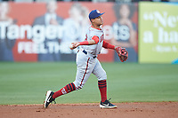 Hagerstown Suns shortstop Jose Sanchez (2) makes a throw to first base against the Greensboro Grasshoppers at First National Bank Field on April 6, 2019 in Greensboro, North Carolina. The Suns defeated the Grasshoppers 6-5. (Brian Westerholt/Four Seam Images)