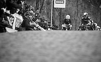 Gent-Wevelgem 2013.Mathew Hayman (AUS) peeping up the Kemmelberg next to Filippo  Pozzato (ITA).