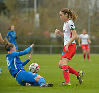 Zulte Waregem's defender Sheryl Merchiers (R) and Genk's Fleur Pauwels (L)  pictured during a female soccer game between SV Zulte - Waregem and KRC Genk on the 8 th matchday of the 2020 - 2021 season of Belgian Scooore Women s SuperLeague , saturday 21 th of November 2020  in Zulte , Belgium . PHOTO SPORTPIX.BE | SPP | DIRK VUYLSTEKE