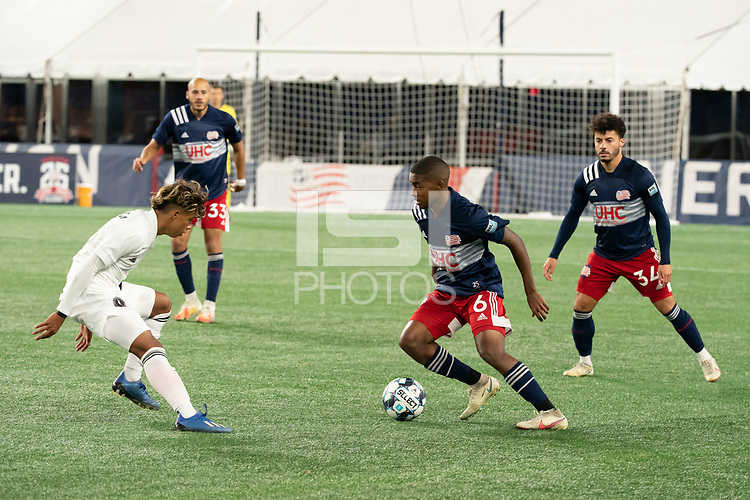 FOXBOROUGH, MA - OCTOBER 09: Maciel #6 of New England Revolution II prepares to evade Felipe Valencia #28 of Fort Lauderdale CF during a game between Fort Lauderdale CF and New England Revolution II at Gillette Stadium on October 09, 2020 in Foxborough, Massachusetts.