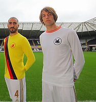 Pictured: Neil Taylor, Chico Flores and Michu<br /> <br /> Re: Swansea City FC squad photo-shoot at the Liberty Stadium, south Wales.